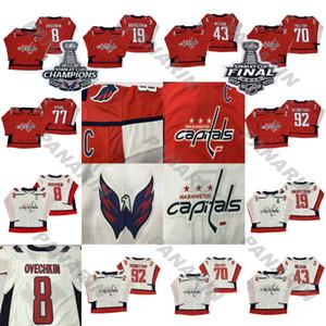 18-19 capitales de Washington Jersey 8 Alex Ovechkin 74 JOHN CARLSON 77 TJ Oshie 70 Braden Holtby 92 EVGENY KUZNETSOV Hockey jerseys