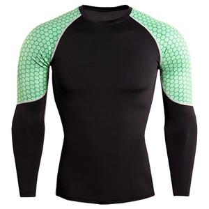 Nouveau manches longues Chemise sport hommes rapide T-shirts sec Runnin hommes Serpent Gym Fitness Vêtements Top Mens Rashgard Soccer Jersey