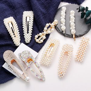 2020 Full Pearls Hair Clips Women Girls Elegant Pearl Geometric Crystal Hairpins Headbands Barrettes Fashion Hair Accessories