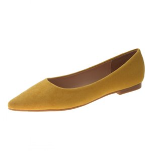 Flats Spring Autumn Fashion Pointed Toe Shoes Female Flat Shallow Mouth Kid Suede Leather Women's Shoes Big Size 41 JS-A0003