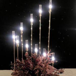 Porte-métal Chandeliers Vases à fleurs Bougie Tableau de mariage Candelabra pilier Stands Centerpieces Parti Décor route plomb EEA484-a