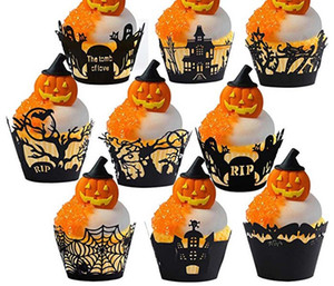 Hollowed out black Cupcake for Halloween Spider Web Castle Christmas pumpkin witch ghost Laser Cut Pocket Wedding Cake Cup