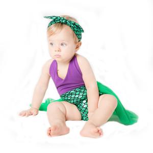 Mameluco de la historieta del bebé del vestido de la sirena de los vestidos de malla del cabestrillo Lentejuelas infantil bebé recién nacido de chicas Ropa Casual Anime ropa de bebé Ropa de Bebe 060512