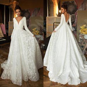 2020 Robes de mariée à manches longues modernes V cou couvert bouton recouvert de dentelle dentelle robe de mariée robe de mariée vestido de novia