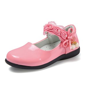 2019 Girls Shoes Princess School Leather Shoes Fashion Flower Bead Girls Flat Dress Party Shoe 4 5 6 7 8 9 10 11 12 Year Old