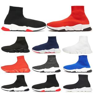 Balenciaga 2019 Diseñador de Speed Trainer Hombres Mujeres Zapatos de calcetín negro Azul Rojo Sólido Moda de lujo Botas Entrenadores Zapatillas de deporte para caminar