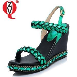 chaussures femme ZVQ 2020 été nouvelle plate-forme mode bout ouvert coins super haut femmes sandales boucle en dehors des chaussures en cuir véritable