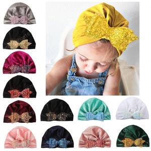 Yeni Avrupa Bebek Kız bebekler Şapka Pullarda ilmek Şapkalar Çocuk Bebek Çocuk kasketleri Turban Şapkalar Çocuk Pleuche Şapkalar 13 renk
