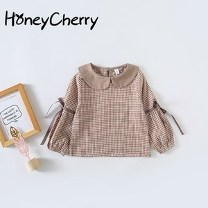 New Baby Collar Shirt Ribbon Checked Children's Long Sleeve Jacket Girls School Blouses Children Girl Top Blouse Y200704