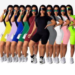 Женская 2 шт Короткие рукава наборы Сплошной цвет Tracksuit рукавов верхней Шорты Блуза Брюки спортивный костюм горячий продавать Cy6033