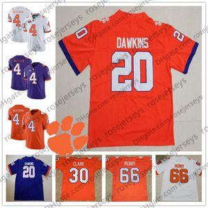 NCAA Clemson Tigers # 20 Brian Dawkins 30 Dwight Clark 66 maillot blanco púrpura William Perry 4 Deshaun Watson Steve Fuller Retirado Naranja
