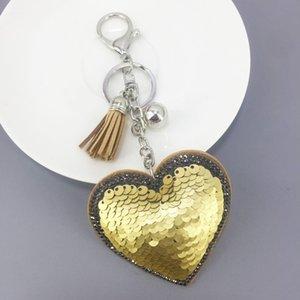 Moda Sequins Kalp Anahtarlık Kadınlar Kristal Rhinestone kolye Charms Püskül Anahtarlık Lover Anahtarlık Hediye Araba Anahtarlık Tutucu