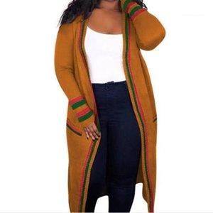 Primavera signore Designer Cardigan Cappotti femminile Abbigliamento Rosso Verde lunga striscia Womens Outerwear nastro Plus Size