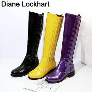 امرأة فاسق أحذية الكعب ساحة الركبة عالية الكلاسيكية تو مربع الحذاء PU جلدية البريدي بوتا حزب اللباس السيدات أحذية الرقص الأصفر والأرجواني