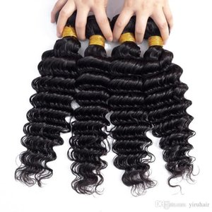 L Brazilian Virgin Hair Extensions Deep Wave 3 Bundles 8 -30inch 100 %Human Hair Natural Color Remy Hair Wefts 3pcs