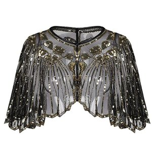 Bufandas de las mujeres 1920s Flapper Bordado Fringe Shawl Cover Up Gatsby Party Beaded Sequin Cape Bufanda de malla vintage Wraps para el vestido