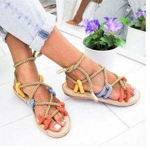 Ladies Sandals Fashionable Summer Shoes Ladies Flat Sandals Hemp Lace Gladiator Sandals Size 35-43 6 colors