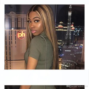 Brown balayage Lace Front Wig Straight Honey Blonde Brazilian Remy Highlight Ombre Lace Front Human Hair Wigs For Women 150% density