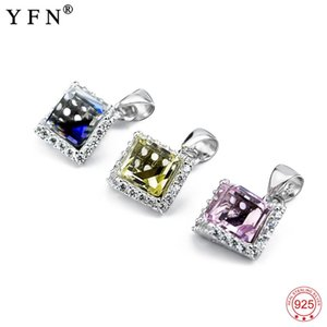100% Real 925 Sterling Silver Pendant Sweet Blue Yellow Red Crystal Necklaces Pendants Jewelry & Accessories For Women GND0782