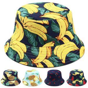 Fruta linda impresión lateral doble plegable Pescador Sombrero de sol unisex al aire libre casquillo compartimiento lateral plegable Pescador del casquillo del sombrero del cubo unisex