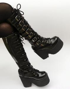 Piel japonesa Harajuku alto Plataforma Chunky talón Cosplay de la rodilla de alta Botas Mujeres Negro Cinturón de hebilla gótica punky Altas botas postal