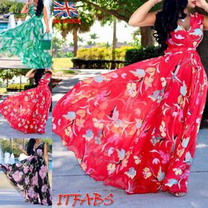 Big Flower Print V-cut Neck Long Dress Women Summer Boho Sleeveless Belted Beach Sundress Floral Maxi Vestido for Evening Party