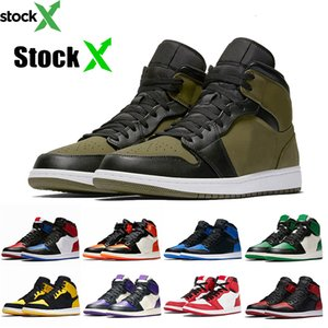 2020 Jumpman Stock x Olive Canvas 1 1s Womens Mens Basketball Shoes Top 3 Chicago Shattered Backboard Pine Green Sports Mens Sneakers