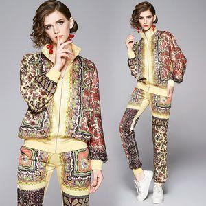 2020 Luxus Damen Zwei Stück Hosen Lose Casual Langarm Drucken Jacken Mantel + Lange Hose 2 Stück Runway Damen Designer Zwei Stück Sets