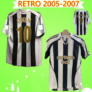Newcastle United jersey # 9 SHEARER # 10 OWEN Retro 2005 maillots de football 2007United 05 07 maillots de football chez Vintage Camiseta Maillot Ameobi Solano Dyer Bowyer
