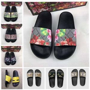 Hombres Mujeres sandalias de diapositivas zapatos de diseño de verano de lujo de la manera libre plano ancho resbaladizo deslizadores de las sandalias flip tamaño 35-45 de la flor