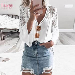 Vintacy mujeres de Boho Top blusa blanca atractiva del verano V cuello largo de la manga de la llamarada hueco atractiva Top Travel Apliques vocación informal
