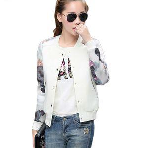 Women Jacket Brand Tops Flower Print Girl Plus Size Casual baseball Sweatshirt Button Thin Bomber Long Sleeves Coat Jackets