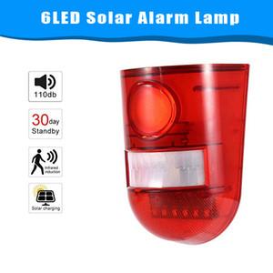 CRESTECH Solaire Alarme sonore stroboscopique clignotant 6 LED lumière capteur de mouvement système d'alarme de sécurité 110dB fort sirène