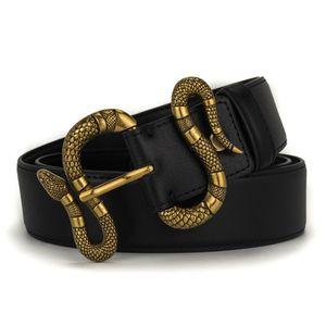 Serpiente Correas de lujo de diseño para hombre animal del estilo de la marca Man Mujer Cinturón de manera ocasional aguja hebilla de cinturón ancho de 38 mm de alta calidad de cuero de vaca