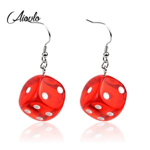 Aiovlo 2020 Women's Earring Red 3D Chess Game Hip Hop Night Club Jewelry Long Stainless Steel Ear Hook & Acrylic Dice Earrings