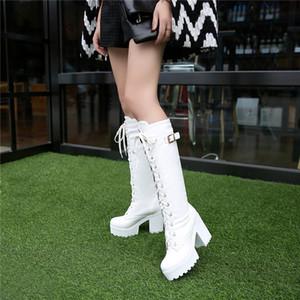 PXELENA Gotik Kare Chunky Blok Yüksek Topuklar Binme Boots Kadınlar Lace Up Kalın Platformu Kaya Punk Cosplay Diz Yüksek Boots Ayakkabı