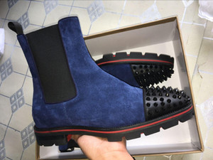 2119 boda de lujo de las botas del tobillo hombre inferior rojo Melón Botas Piel Negro para hombre de goma con salientes Sole Partido famoso botín Moda