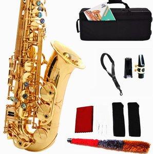 Deux clés de peinture d'or vers le bas Saxophone Alto E Saxophone Alto Brass Sax Kit débutants, Embouchure, courroie de cou, chiffon de nettoyage Rod, Guide Musicial