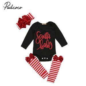 Natale Newborn Baby Girl pagliaccetto tuta ghette regolato l'attrezzatura Lettera del bambino del bambino di stampa superiore a righe Leg Warm Vestita Set