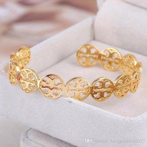 Neuer Stil Edelstahl rund Gold-Stulpe-Armband mit Doppel-T-Entwurf für Frauen Rose Gold aushöhlen heraus Logo offen pulsera Armband Fine Jewelry