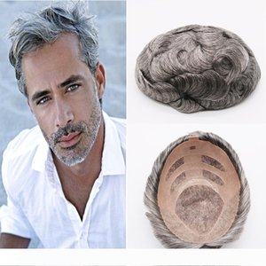 Best Quality Natural Brown Gray Mono Lace Toupees Hand Tied Hairpieces Human Hair Replacement Toupees Mens wigs