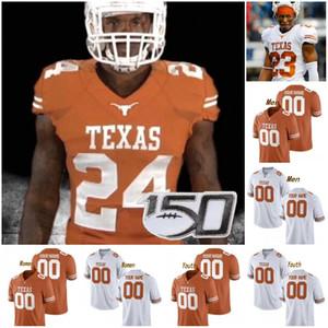 Personalizzato Texas Longhorns 2019 di calcio qualsiasi nome Numero Arancione Bianco 11 Ehlinger 7 Sterns 9 Collin Johnson Giovane Sugar Bowl NCAA Jersey 150 °