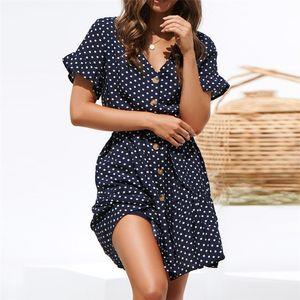 Mulheres Casual elegante do botão da forma de onda Dot Imprimir Ruffles vestido Mulheres Verão V-neck Cinturão de Slim alargamento mangas Ladies Beach Vestidos Boho Mini