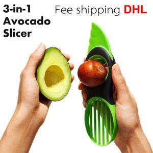 Cozinha Mágica 3 em 1 fruta Ferramentas vegetais Abacate Slicer Pitter Splitter Slices Acessórios de cozinha Cozinhar Fee Ferramenta de transporte DHL