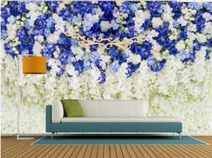 Modern purple floral wallpapers background wall decoration painting 3d landscape wallpaper