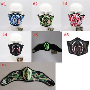 Shark Stampato Anti-polvere Viso Bocca di copertura in bicicletta Moto mascherina mascherine riutilizzabile lavabile mezzo del fronte di Camo Uomini Donne Facemask Strumenti 2020 Regali