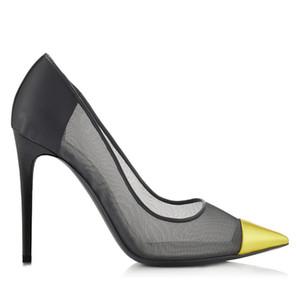 Las más nuevas mujeres elegantes zapatos de vestir señoras de la manera del partido de noche bombas de malla transpirable zapatos de tacón alto calzado de la muchacha revista de moda regalo EE.