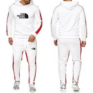 Fashion Men's sportswear jogging suit two piece full cotton thickened Hoodie + pants sportswear down jacket Men's leisure sports suit 1H