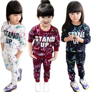 2019 Новые Дети Девочки Осень Одежда с длинным рукавом набор Звездное небо Письмо печати Tops + длинные брюки 2pcs Эпикировка Set 3 цвета