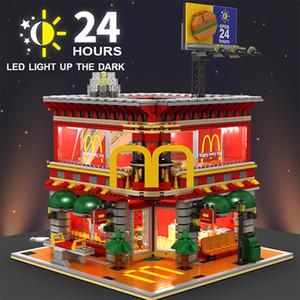 Legoeding 빌딩 블록 벽돌과 호환 4에서 1 Sembo SD6901 미니 스트리트 뷰 LED McDonaldss 레스토랑 하우스 모델